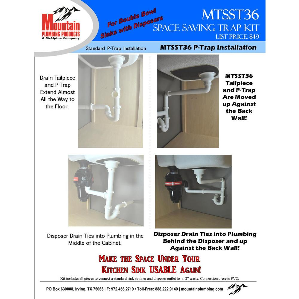 Mountain Plumbing   MTSST36   Space Saving Trap For Double Bowl Kitchen Sink