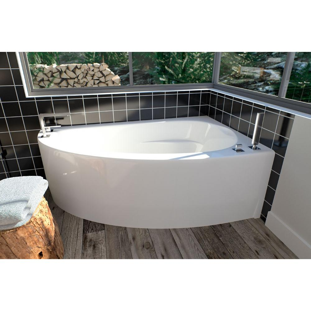 WIND bathtub 36x60 with Tiling Flange and Skirt, Right drain, Activ-Air, Black